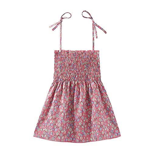Mud Kingdom Baby Girls Sleeveless Dress Elastic Tube Top Cute Leaf Summer Pink 18-24 Months