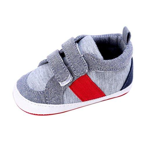 FNKDOR Baby Jungen Mädchen Schuhe Krabbel Hausschuhe (6-12 Monate, Grau)