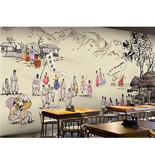 Wuyii fotobehang 3D Koreaans keukenbehang vrijetijdsbar restaurant thema hotel snack winkel achtergrond dranken levensmiddelen behang fotobehang 150 x 120 cm.