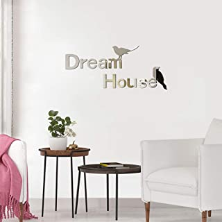 Dream House 3D Acrylic Mirror Wall Stickers, 2 Birds Removable Self-Adhesive Wall Art Decors, DIY Home Decorations for Liv...