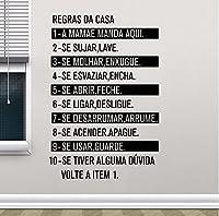 ポルトガル版ハウスルールビニールウォールアートデカール、ポルトガル語引用ウォールステッカー家の装飾84x56 cm