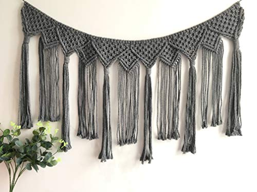 Youngeast Handmade Boho Macrame Wall Hanging Home Décor Woven Tapestry 39.5 x 15.7 Inches Grey