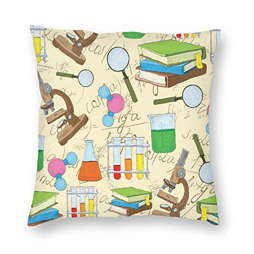 niBBuns Decorative Pillowcase Science Education Lab Sketch Books Equation Loupe Microscope Molecule Flask Print Square Cushion Cover Standard Pillowcase for Men Women Home Decorative 20x20 inch