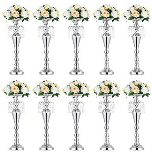 10 Pcs Versatile Metal Wedding Centerpieces Vase & Pillar Candle Holder 52.5cm Height for Wedding Party Dinner Centerpiece Event for Reception Tables Wedding Supplies Decoration, Silver