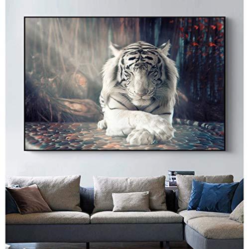 Impresión en Lienzo Imagen HD White Tiger Animal Art Posters e Impresiones sobre Lienzo Pintura en la Pared Imagen Decorativa para la Sala de Estar Decoración del hogar