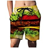 Kangma Mens Beach Shorts,2021 3D Printed Funny Swimming Trunks with Drawstring Quick Dry Boardshorts for Vacation Coffee