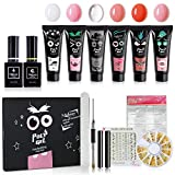Morbray - Elf Series - Kit de manucure polygel, lot de 4 x 15 g, kit de démarrage en polygel, pinceau à ongles, gel pour extension, colle pour ongles, kit de nail art