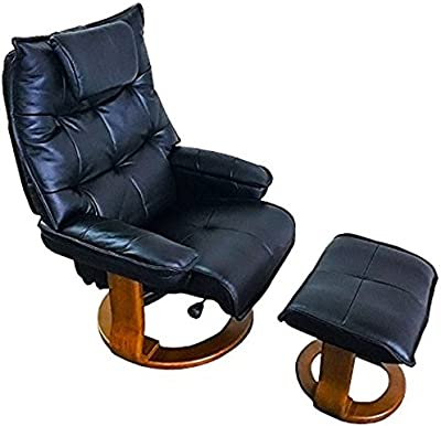 World Source Design Hana Contemporary Motion Recliner & Ottoman, Top Grain Leather, Rolls Royce Black