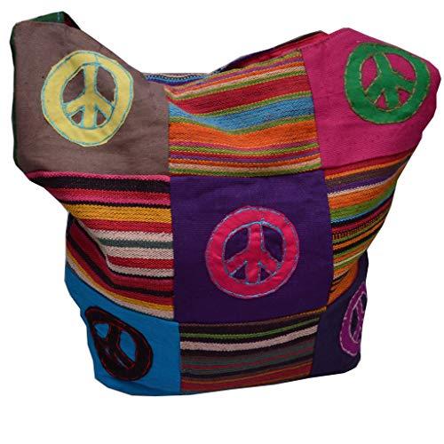 Yogi Tasche Handtasche Freizeitttasche im Indi Style Goa mit Peace Emblem T-807