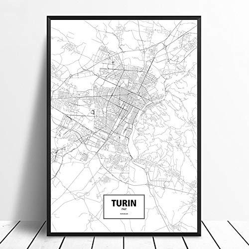 SQSHBBC Turin Italien Schwarz Weiß Benutzerdefinierte Weltstadt Karte Poster Leinwanddruck Nordischen Stil Wandkunst Home Decor60X90CM kein Rahmen