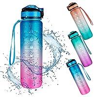 【Sin BPA Material 】 La botella de agua deportiva está hecha de material reutilizable ecológico de calidad alimentaria con calidad. Esta botella de bebidas es 100% libre de BPA y saludable para su bebida diaria de agua. 【Marcador de tiempo motivaciona...
