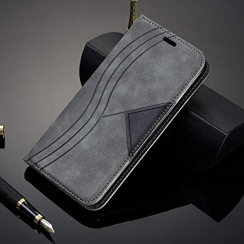 zhenshi Caja magnética de la Cubierta del Libro de la Cubierta de la Cartera de la Billetera de la Billetera del Flip para iPhone XR XS MAX 8 7 6S Plus (Color : Grey, Size : For iPhone XR)