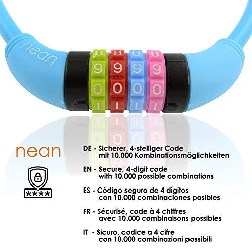 nean Fahrradschloss für Kinder, Zahlen-Code-Kombination-Kabel-Schloss, bunt, 10 x 650 mm (Blau) - 3
