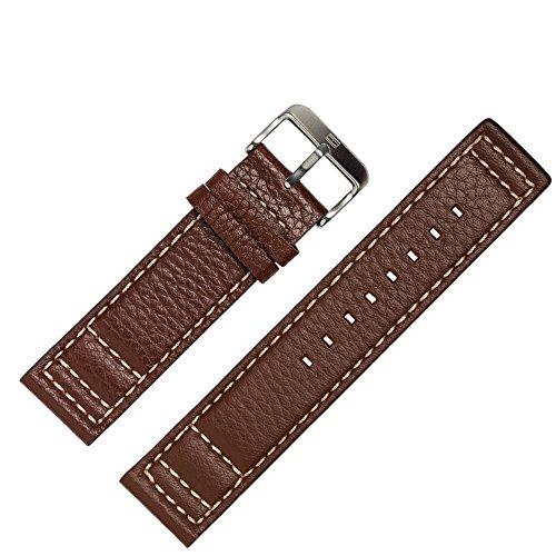TOMMY HILFIGER Uhrenarmband 22mm Leder Braun - Gehäusenummer TH.102.1.14.0878 - Passend Für Uhrenmodell 1790684, Schließe Silber