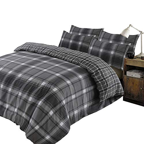 Dreamscene Aspen Check Duvet Cover with Pillow Case 100% Brushed Cotton Flannelette Tartan Thermal Bedding Set, Grey Black - Double