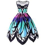 VJGOAL Damen Kleid, Damen Mode Schmetterling Drucken Ärmelloses Party Vintage Schaukel Spitze Sommer Kleid Geschenke (XXXL, Mehrfarbig)