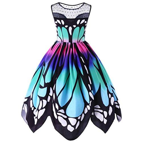 VJGOAL Damen Kleid, Damen Mode Schmetterling Drucken Ärmelloses Party Vintage Schaukel Spitze Sommer Kleid Geschenke (L, Mehrfarbig)