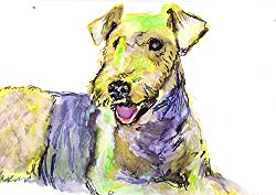 Airedale Terrier, Colorful Yellow Airedale Dog Modern Art Print by Artist Oscar Jetson