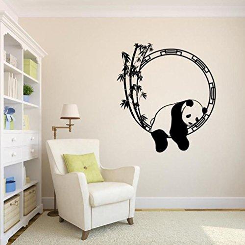 AliKEEY 57 x 63 cm Muurtattoo Panda Afneembare muurdecoratie voor de woonkamer Deco bamboe Panda Sticker Boom Fotolijst Woonkamer Boom 3D Muursticker