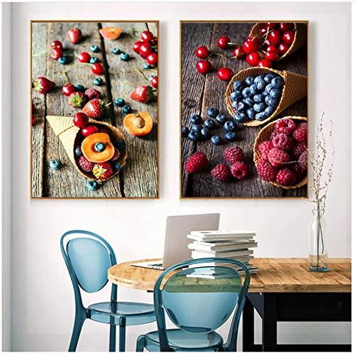 QIAOB Mural de Lienzo, fotografía de Fruta de Postre, Pintura en Lienzo Impresa, imágenes artísticas de Pared Modernas para Carteles de Cocina sin Marco