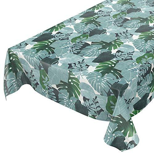 ANRO Wachstuchtischdecke - Abwaschbare Wachstischdecke mit Muster Tropic Grün Laub 200x160cm
