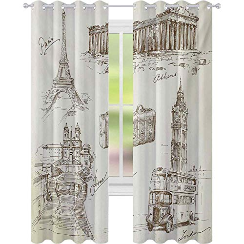 Cortinas opacas, colección de arte de bosquejo de viajes sobre lugares de interés europeos y maleta de estilo vintage, 52 cm de ancho x 108 cm de largo para ventana de dormitorio, color marrón crema