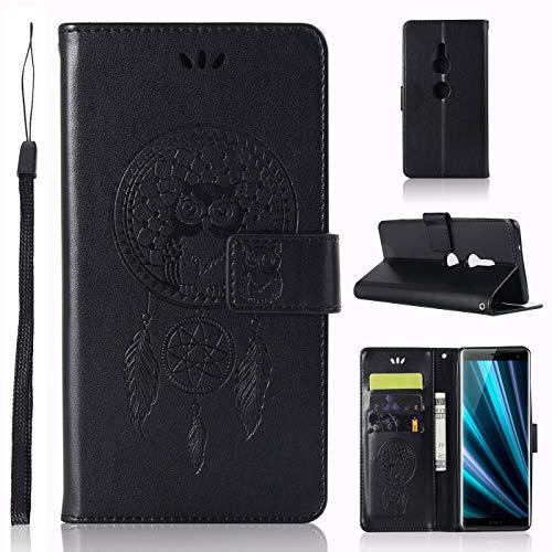 Capa de couro para Sony Xperia XZ3, capa carteira Sony Xperia XZ3, capa flip floral em couro PU com suporte para cartão de crédito para Sony Xperia XZ3 de 6 polegadas