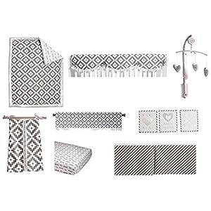 Bacati Love Unisex 10 Piece Nursery in a Bag Crib Bedding Set with Crib Rail Guard, Grey/Silver