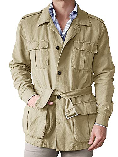Gafeng Mens Safari Jacket Lightweight Hunting Casual Long Sleeve Windproof Military Travel Jacket with Belt