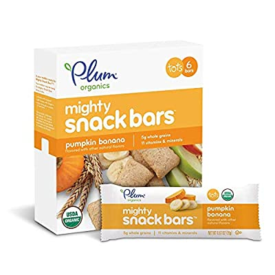 Plum Organics Tots Mighty 4 Essential Nutrition Bar, Pumpkin Banana, 6 Bars (Pack of 8)