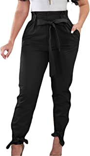 GOBLES Women Solid Casual Work Trousers High Waist Ruffle Bow Tie Pants