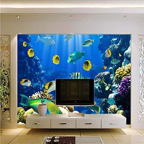 Mkkwp The Sea World Fish Mural Papel Tapiz Fotográfico 3D Para La Sala De Estar Dormitorio Arte De La Pared Decorativos Personalizados Cualquier Tamaño De Tapices De Pared300Cmx210Cm