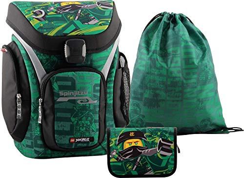 LEGO Bags Schulranzenset Explorer, 3 teilig, Ranzen nur 1,13 kg, Schulset mit Lego Ninjago Motiv Energy, Büchertasche ca. 41 cm, 18 Liter