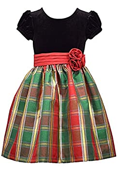Bonnie Jean Short Sleeve Christmas Dress with Black Velvet and Red Tartan Plaid 4T