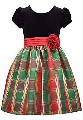Bonnie Jean Short Sleeve Christmas Dress with Black Velvet and Red Tartan Plaid, 3-6M