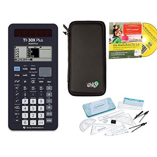 Streberpaket: TI-30X Plus MathPrint + Schutztasche + Lern-CD (auf Deutsch) + Geometrie-Set + Erweiterte Garantie