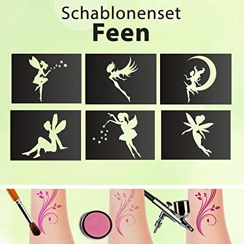 Tattoo Schablonen SET Kinder Feen 6 Schablonen Glitzertattoos Selbstklebend Airbrush Fee