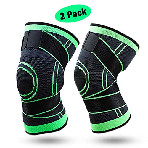 VSPORTS Compression Knee Brace Support Strap Sleeve for Weightlifting Basketball Gym Work Out Pain Relief Meniscus Tear Protector for Stabilizer for Men Women Girls Boys M Size 1 Pair