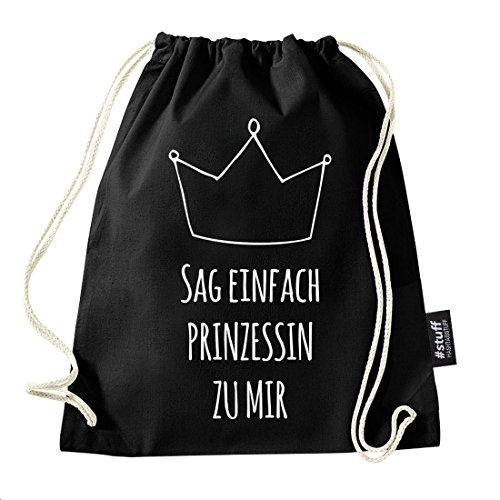 Hashtagstuff® Turnbeutel mit Sprüchen Designs auswählbar Kordel Schwarz Spruch Rucksack Jutebeutel Sportbeutel Gymbag Beutel Hipster 01 Prinzessin