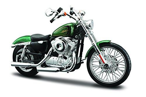 Maisto 532335 Harley Davidson '13 XL 1200V Seventy-Two: Modelo de Moto 1:12, Horquilla y Caballete Lateral móvil, 20 cm, Color Verde Mate