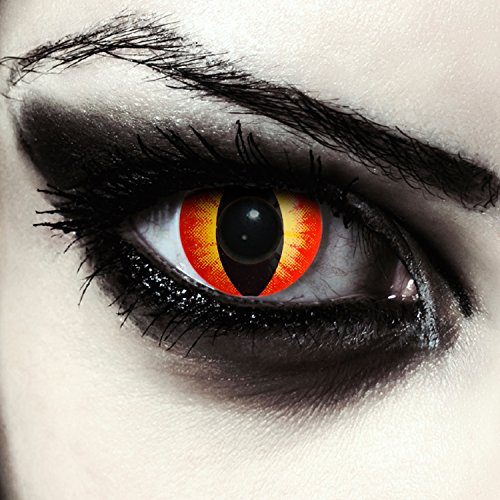 Designlenses Lenti a Contatto Colorate Rosse Occhio di Gatto in Rosse per Halloween Costume, morbide, Non corrette Modello: Red Star Cateye