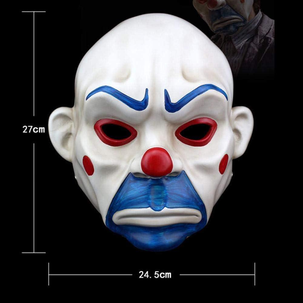 XWYWP Halloween masker hoogwaardige hars Joker masker volwassen Clown Halloween Prop maskerade feestkostuum Fancy Dress Decor wit Kleur: wit