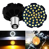 DEFVNSY - Pack de 2 – Super brillante ámbar+blanco 1157 BAY15D P21/5W kit de luz de señal de giro de motocicleta 48SMD de alta potencia LED bombilla para 9-24V DC Harley Davidson