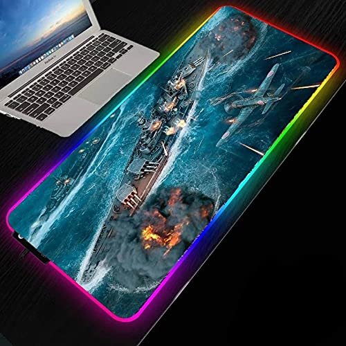 Gaming Mouse Pads World of Warships RGB Gaming Mouse Pad, LED Extended Large Mouse Mat, Computer Keyboard Mat for Home office-400x800mm