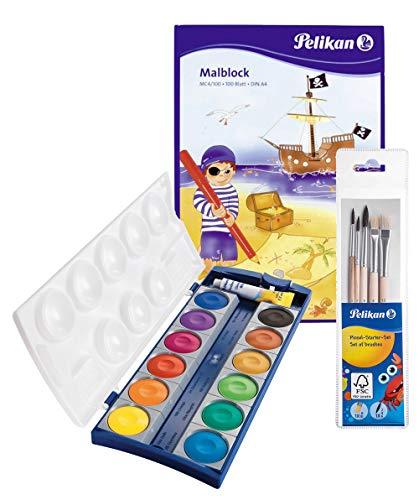 Pelikan 720250 Deckfarbkasten K12, 12 Farben + 1 Tube Deckweiß (Deckfarbkasten & 5tlg. Pinselset & Malblock)