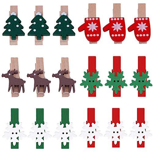 Pveath Weihnachten Holz Clips,150 Stück Mini Holz Klammer Clips Holzklammern Wäscheklammern Elch Handschuhe Schneeflocke DIY Fotoklammern für Namensschilder und zum Basteln holzklammern Weihnachten