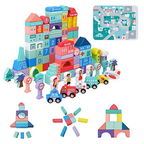Holzbausteine für Kinder 108 Stück Kleinstadt Set | Motorikspielzeug aus Buchenholz BPA-Frei | Bauklötze Spielzeug für Jungen und Mädchen | Lernspielzeug als Weihnacht Geburtztag New Jahr Geschenk