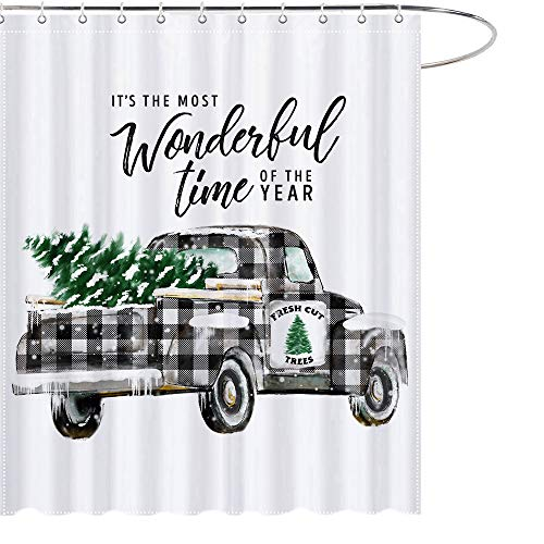MAEZAP Farmhouse Christmas Trees Truck Shower Curtain Black White Buffalo Check Plaids Bathroom Decor Waterproof Polyester with Hooks 69x70 Inches