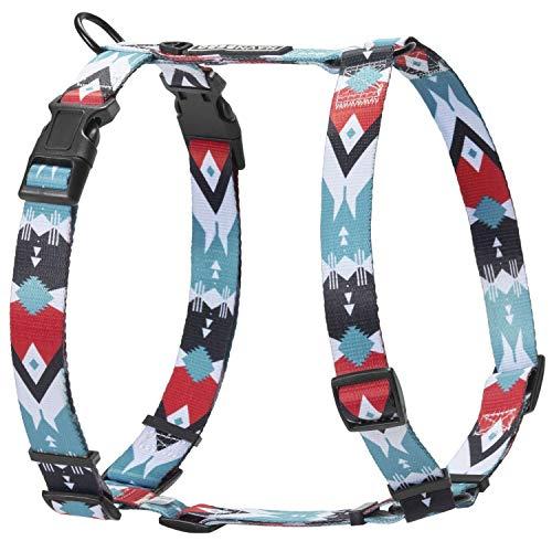HAVNBERG Hundegeschirr für kleine, mittel große und große Hunde, Brustgeschirr, H-Geschirr, schwarz, rot, türkis, weiß, Navajo Design Größen S, M, L (Navjao, M)