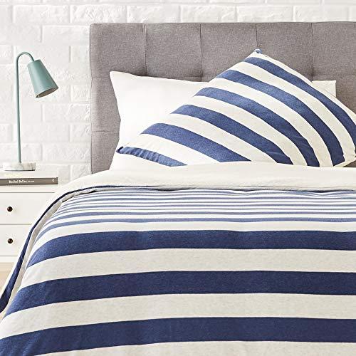 Amazon Basics - Bettwäsche-Set, Jersey, breite Streifen, 140 x 200 cm / 65 x 65 cm, Marineblau